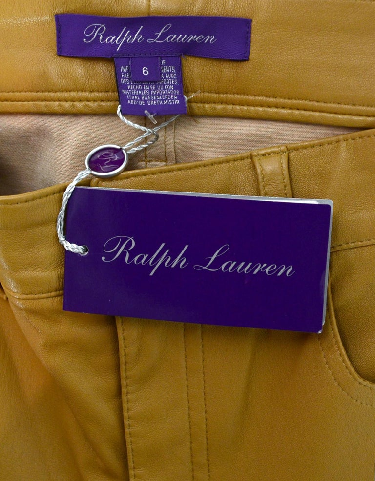 Ralph Lauren Purple Label NWT Nude Leather Skinny Slacks Pants Sz 6 rt. $2,190 In New Condition For Sale In New York, NY