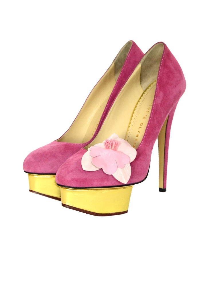 Charlotte Olympia Pink Suede Gold Platform Pumps Heels W Flower Sz