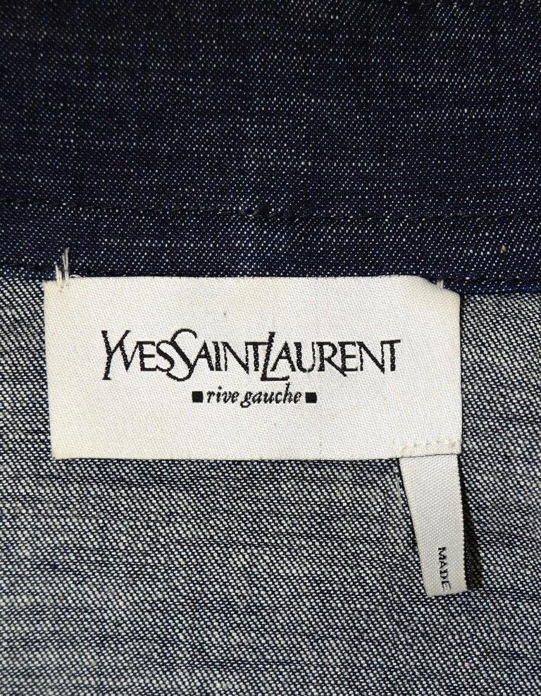 ce265c83929 Yves Saint Laurent YSL Dark Denim Pant/Jacket 2 Piece Set Sz 38 For Sale