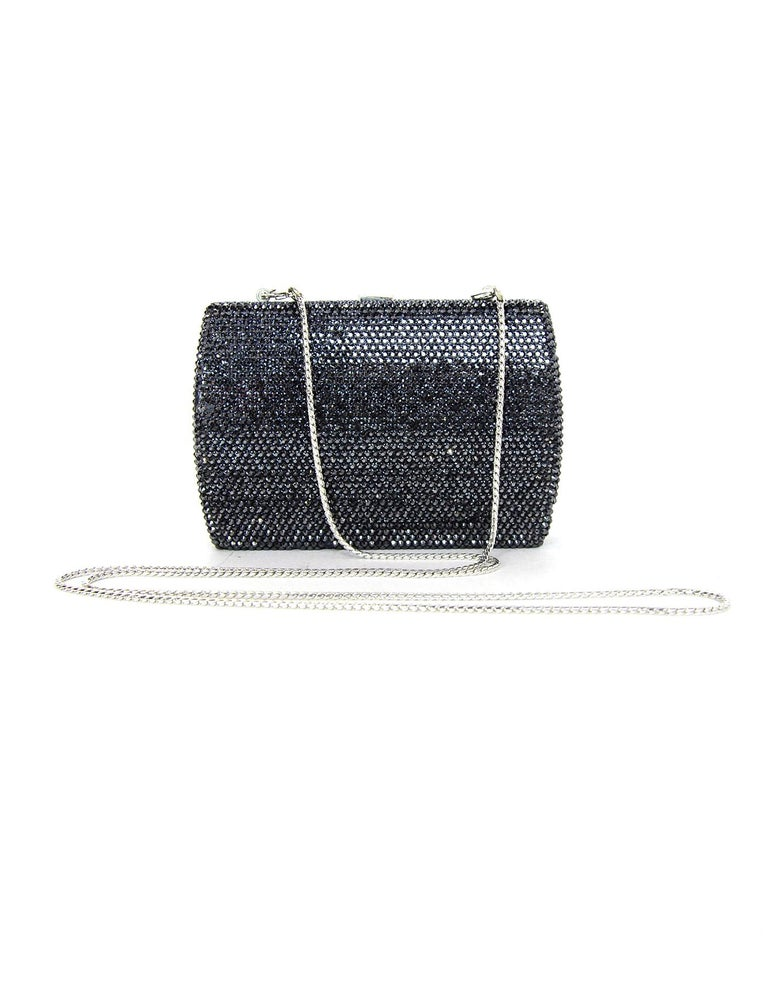 Judith Leiber Black Metallic Swarovski Crystal Minaudiere Evening Bag W/ Strap In Good Condition For Sale In New York, NY