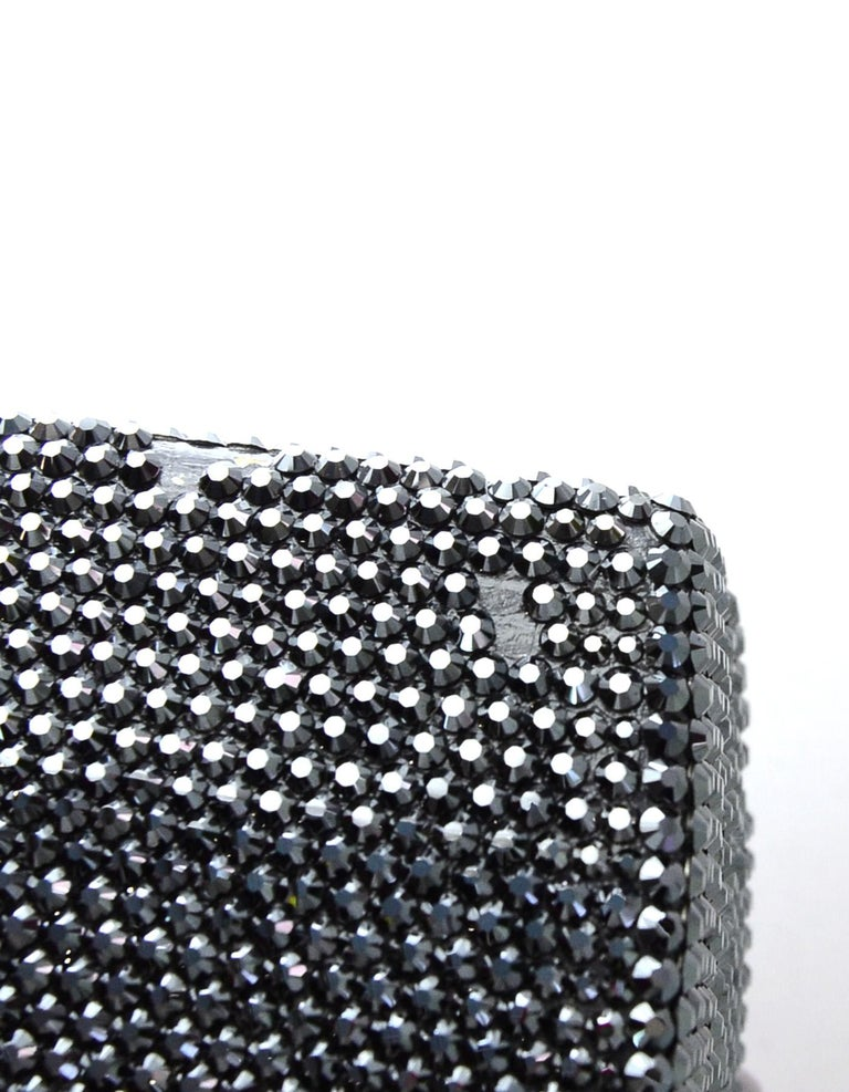Judith Leiber Black Metallic Swarovski Crystal Minaudiere Evening Bag W/ Strap For Sale 1