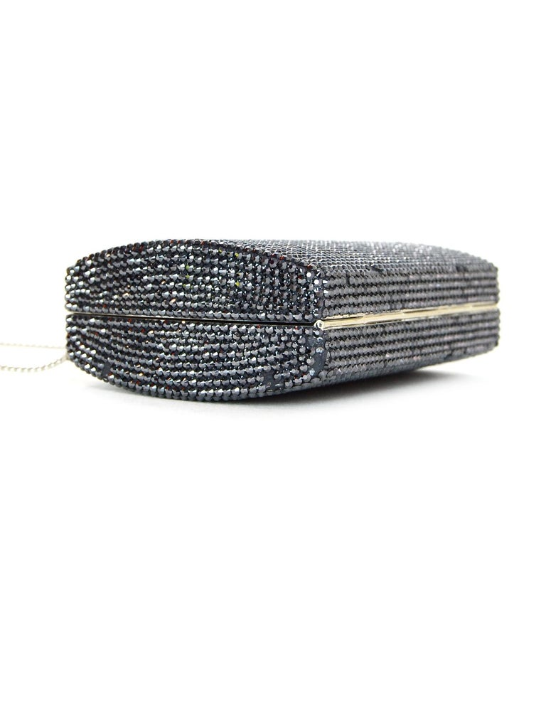 Judith Leiber Black Metallic Swarovski Crystal Minaudiere Evening Bag W/ Strap For Sale 4