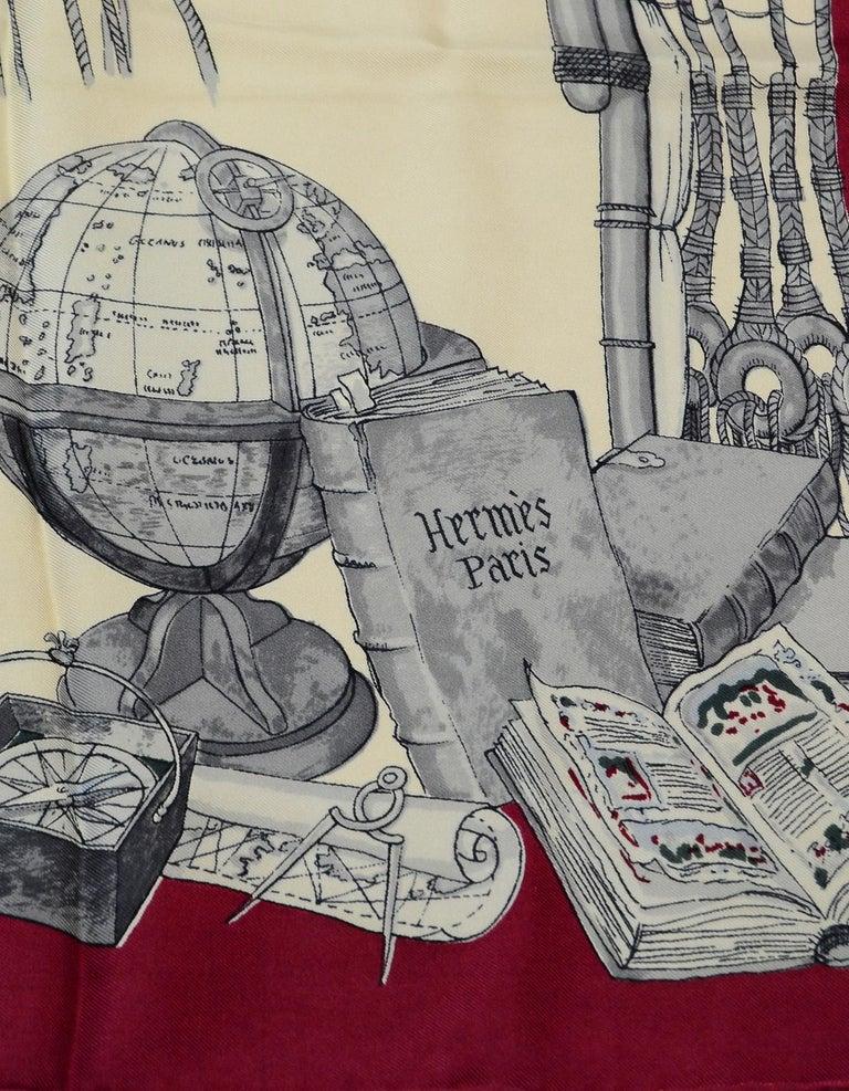 Women's Hermes Cream/Burgundy Caravelle 90 CM Silk Scarf  For Sale