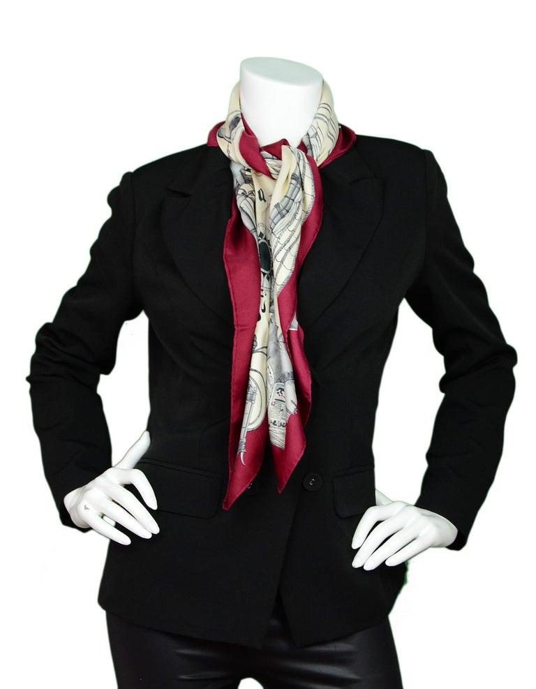 Gray Hermes Cream/Burgundy Caravelle 90 CM Silk Scarf  For Sale