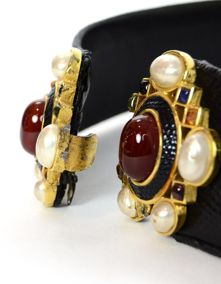 Women's Judith Leiber Black Lizard Belt W/ Pearl & Multi-Color Stone Closure Sz M For Sale