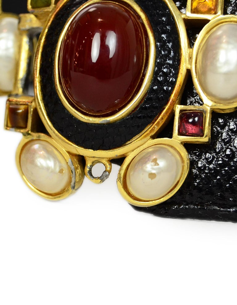 Judith Leiber Black Lizard Belt W/ Pearl & Multi-Color Stone Closure Sz M For Sale 2
