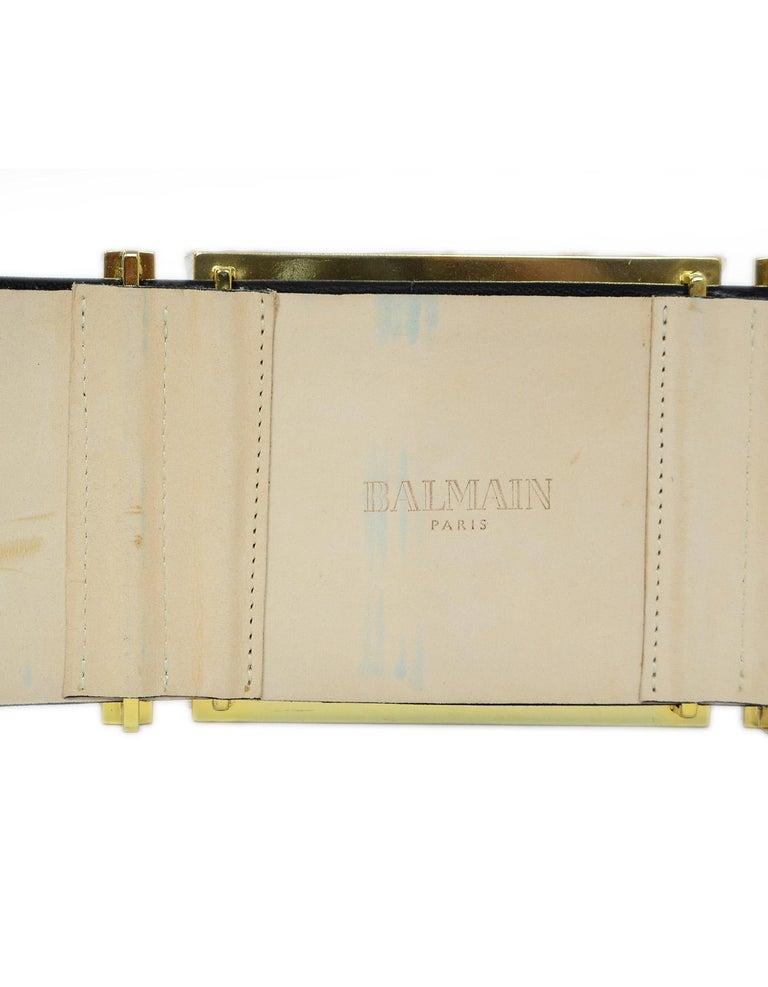 Balmain NEW Wide Black Leather Gold Metal Plate Sz 44 2