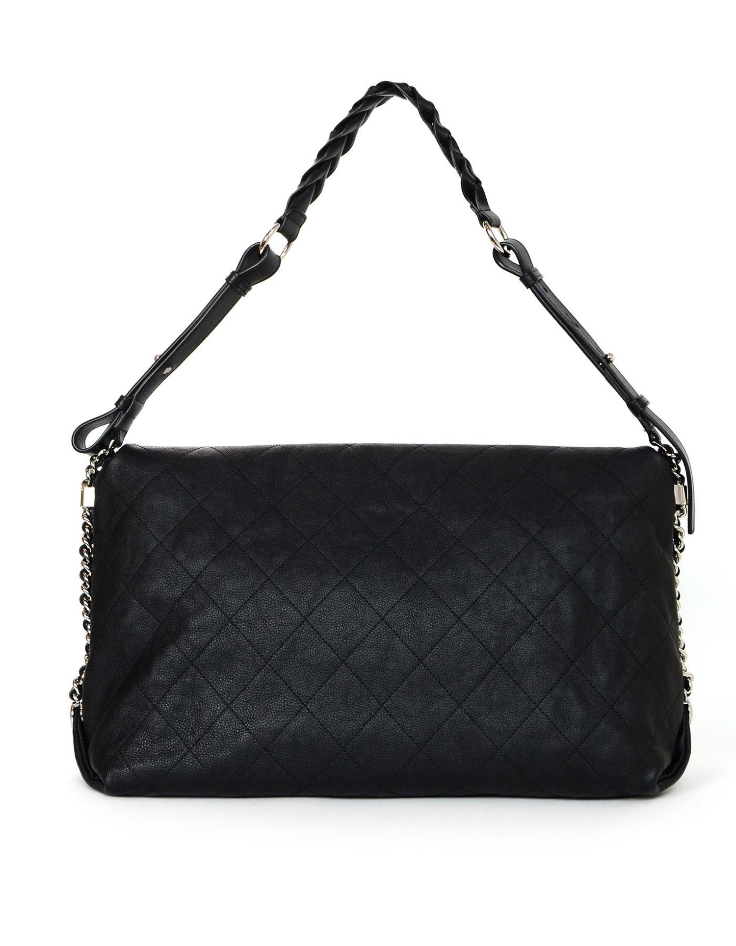 feece7eaca97 Chanel  18 Black Grained Calfskin Quilted Medium Braided with Style Flap  Bag For Sale at 1stdibs