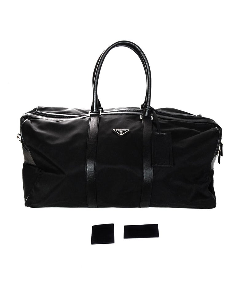 582e419bfb180e Prada Unisex Black Tessuto Nylon/Saffiano Leather V20S Duffle Bag W/ Luggage  Tag For