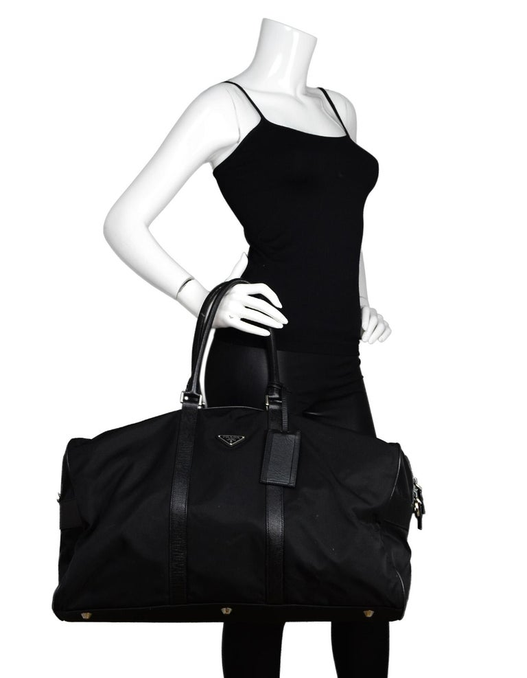 96da41dc70cb15 Prada Black Tessuto Nylon/Saffiano Leather V20S Duffle Bag W/ Luggage Tag  Unisex Made