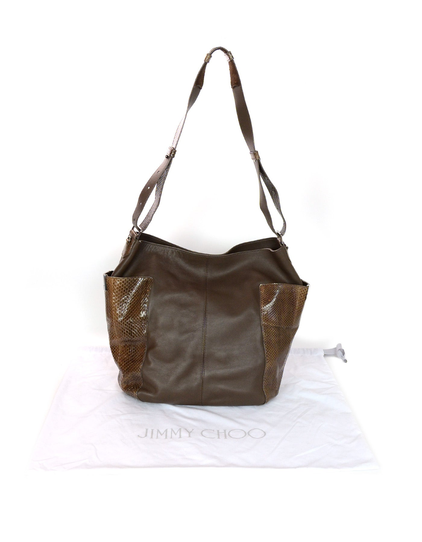 de29a4e47e4a Jimmy Choo Brown Leather and Snakeskin Anna Hobo Bag w  Side Pockets For  Sale at 1stdibs