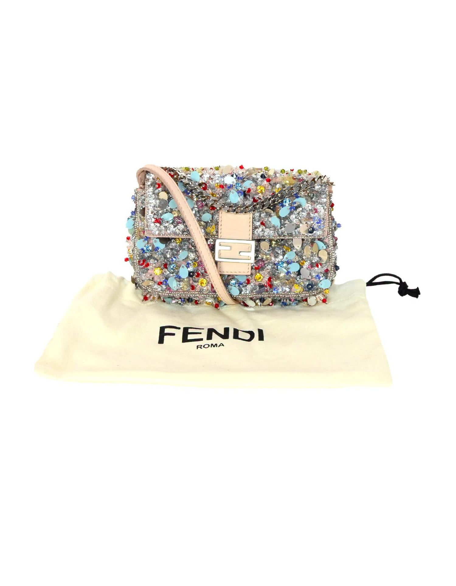 5eaffd9d43 Fendi Beaded Sequin Blush Multicolor Micro Baguette Crossbody Bag w. Dust  Bag at 1stdibs
