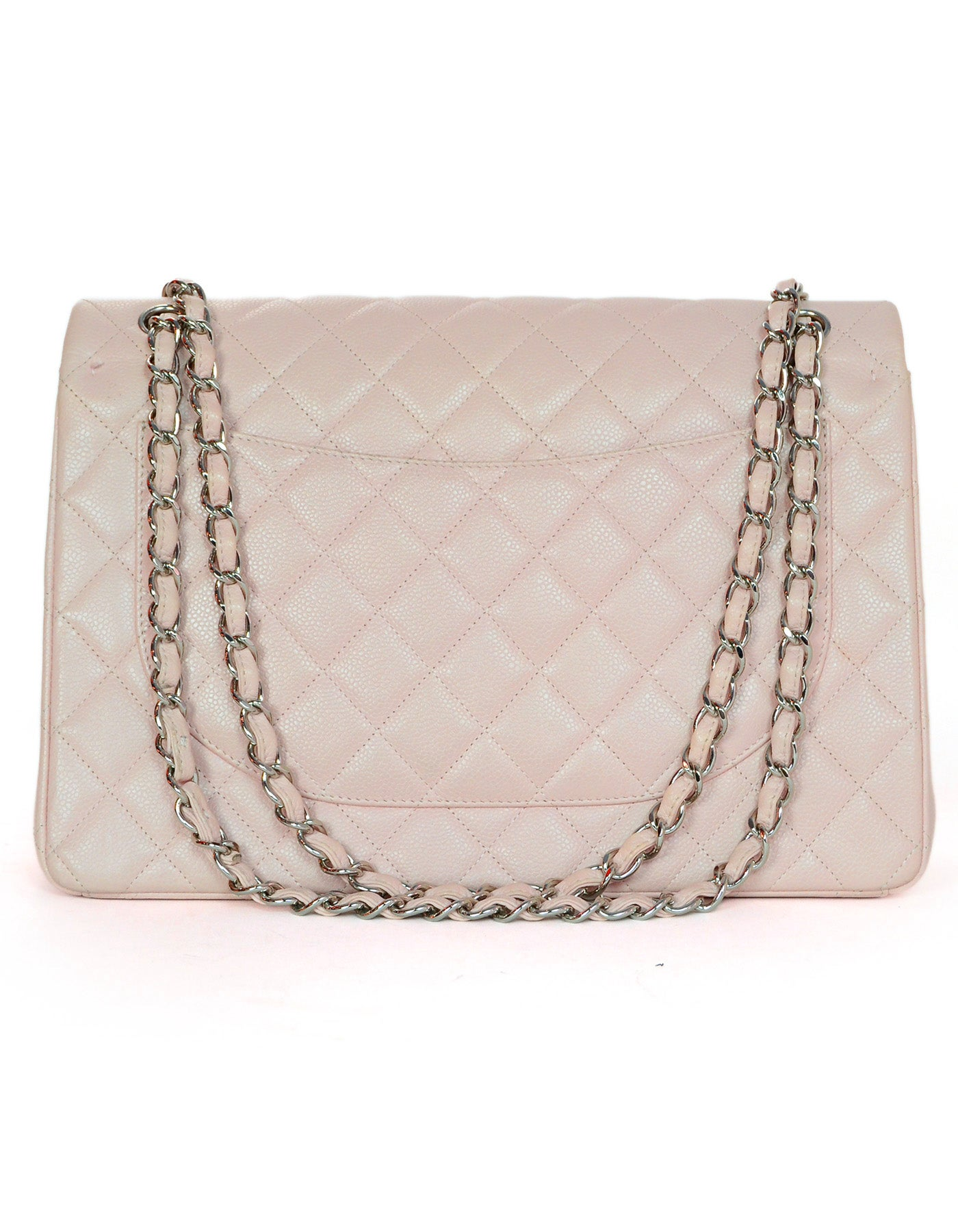 a6819d6de6fb Chanel Blush Caviar Leather Quilted Maxi Double Flap Classic Bag w. DB and  Box For Sale at 1stdibs
