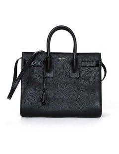 Saint Laurent Black Pebbled Leather Small Sac De Jour Tote W/ Dust Bag