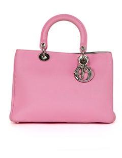 Christian Dior Pink Bullcalf Leather Medium Diorissimo Tote Bag w. DB & Pouch