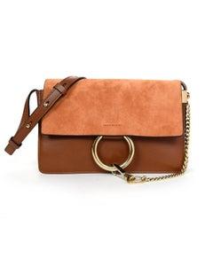 Chloe Tan Leather/Suede Small Faye Crossbody Bag W/ Dust Bag