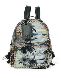 Valentino Green Nylon Hawaiian Couture Medium Rockstud Backpack Bag W/ Dust Bag