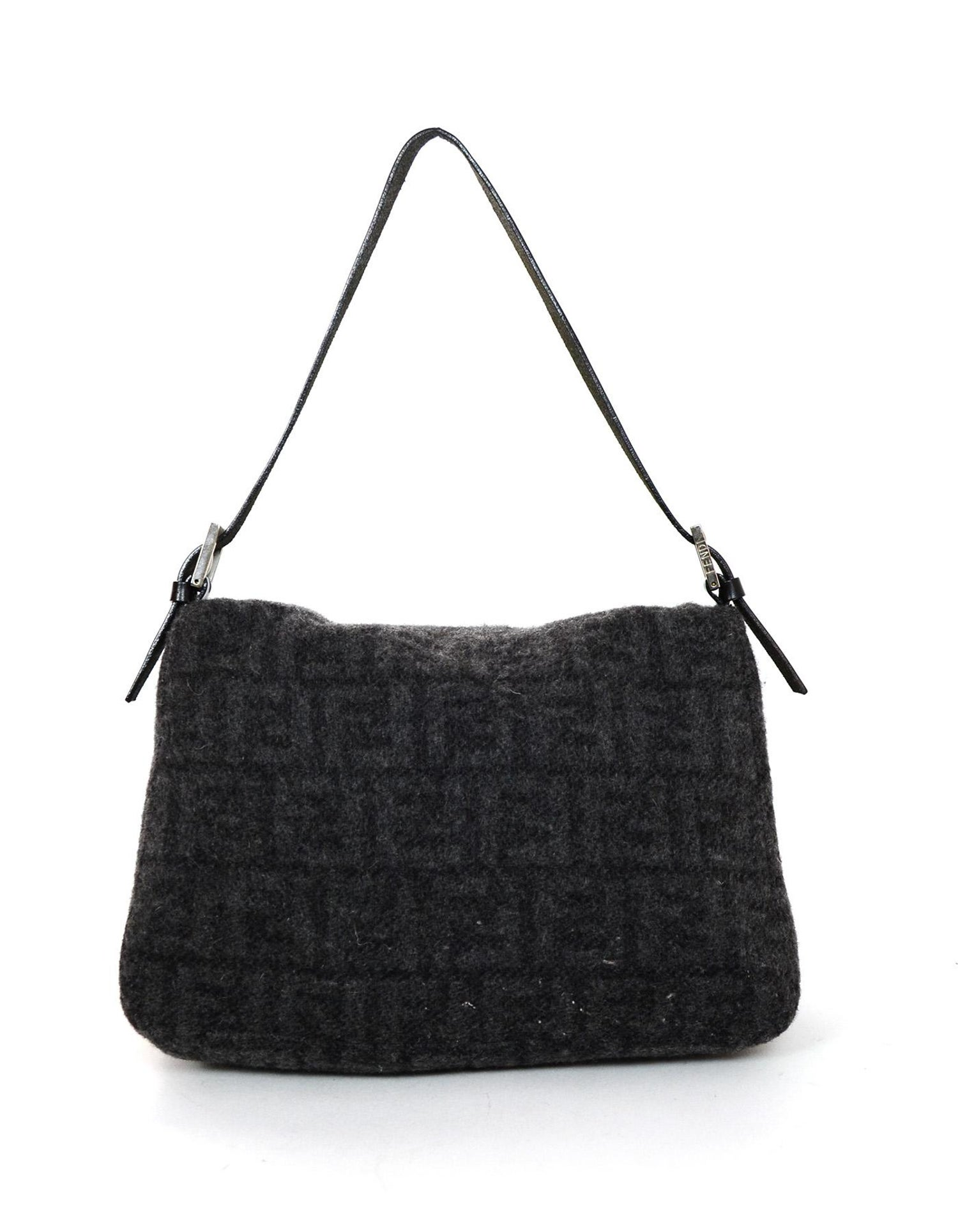 da2461642e48 Fendi Grey Cashmere Wool Mono Logo Print Zucca Mama Baguette Bag W  FF  Buckle at 1stdibs