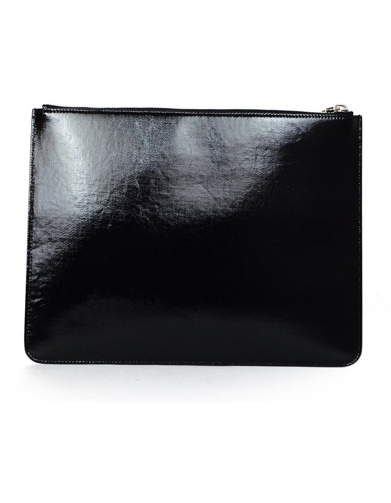 Givenchy Unisex Black Patent Leather Stars And Stripes Pouch Clutch Bag In Good Condition For Sale In New York, NY
