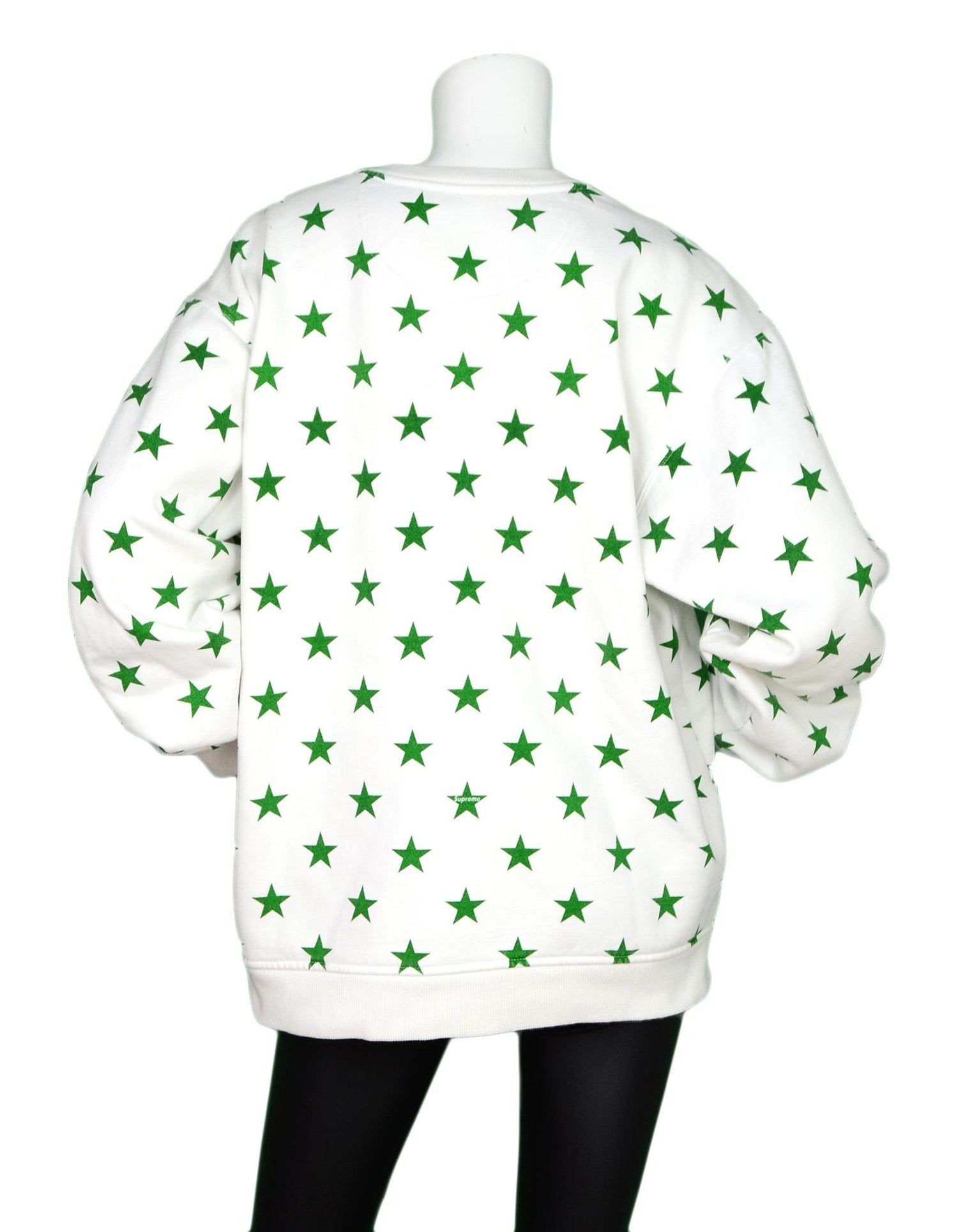 ed08bf295fbe Champion x Supreme Limited Edition White Green Star Print Crewneck  Sweatshirt XL For Sale at 1stdibs