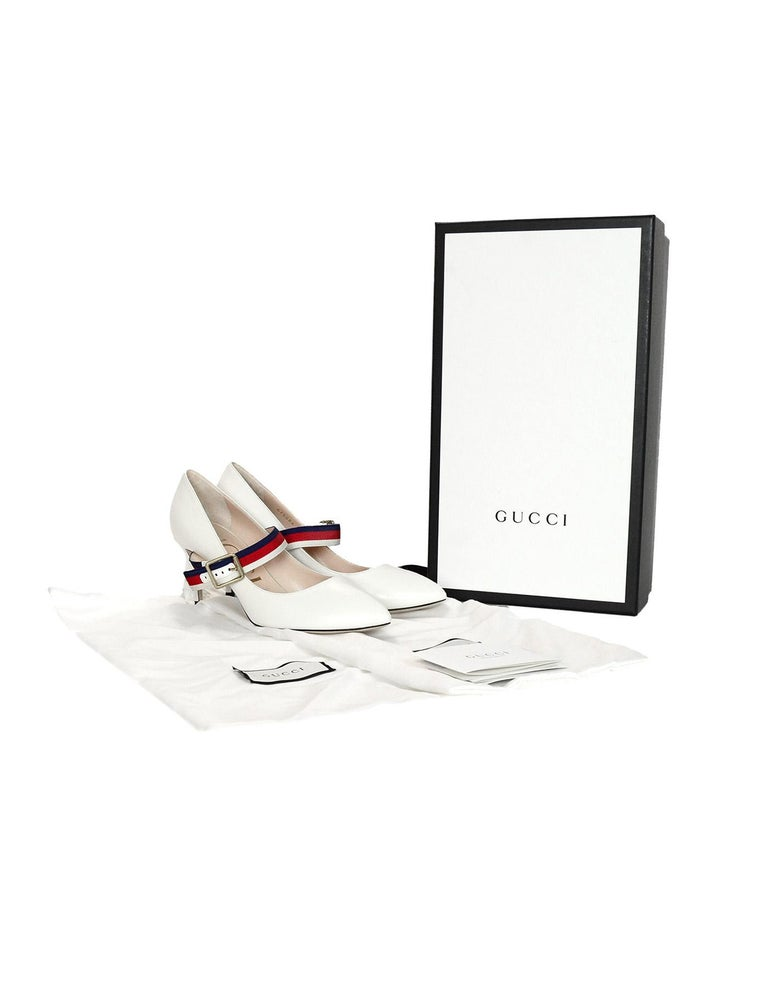 7afff2c81 Gucci NEW White Leather Sylvie Grosgrain-Trimmed Red/Blue Web Pumps Sz 37.5  W