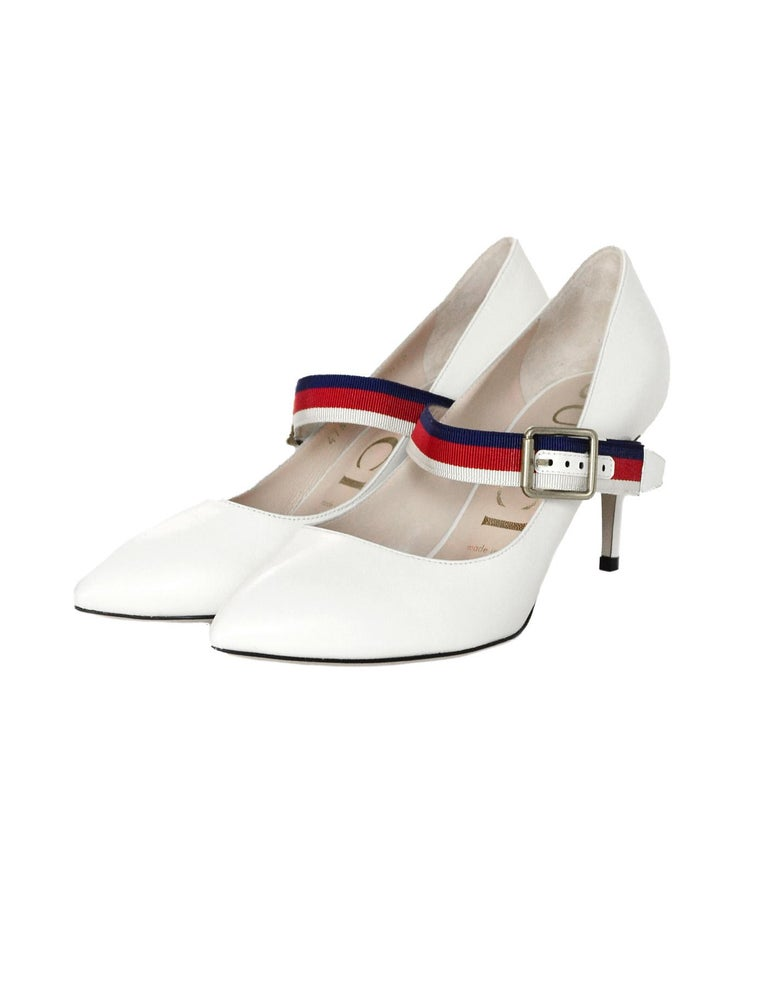 1a58c138327 Gucci NEW White Leather Sylvie Pumps w. Red Blue Grosgrain-Trimmed Web Sz