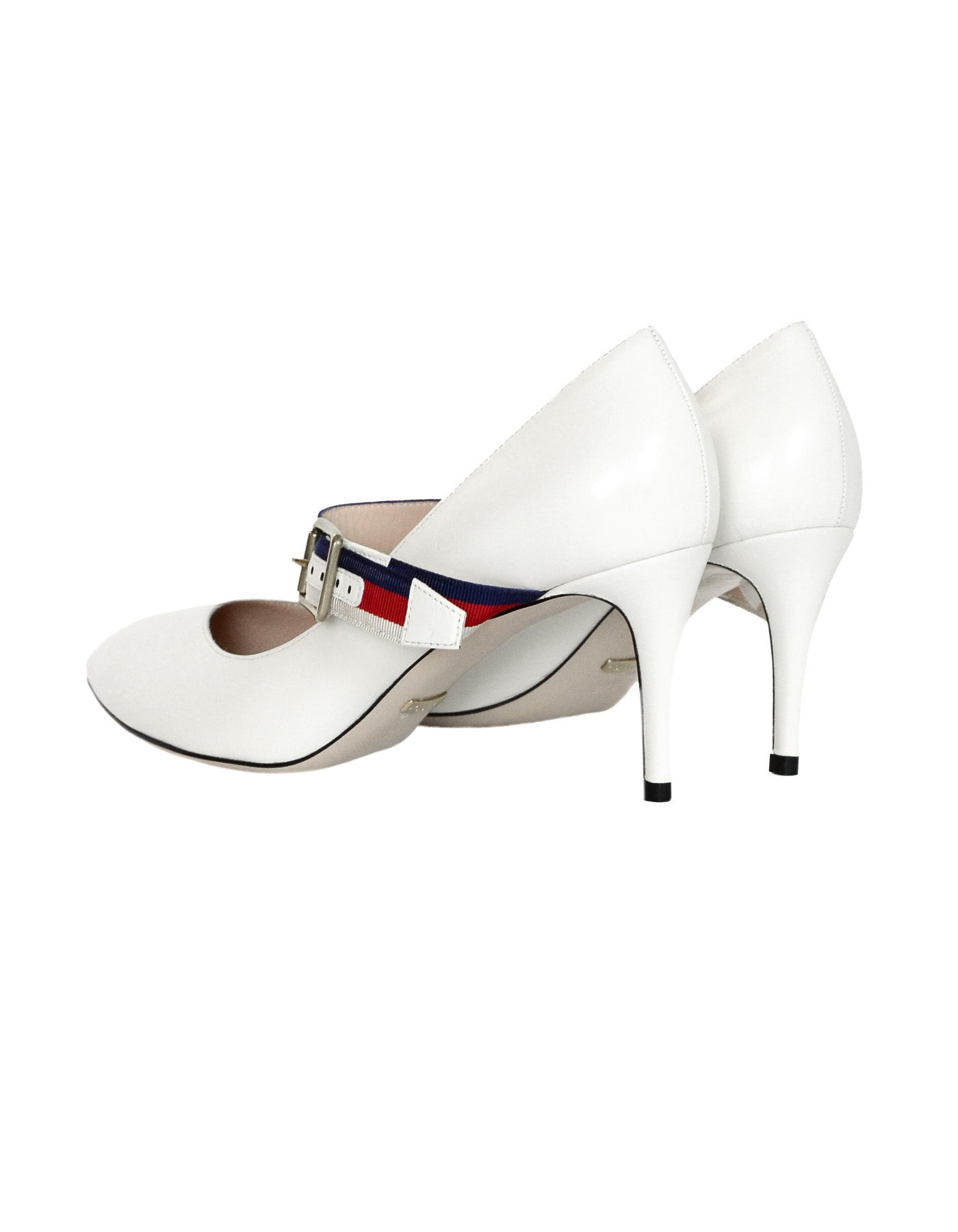 8c26b201f Gucci NEW White Leather Sylvie Pumps w. Red/Blue Grosgrain-Trimmed Web Sz  37.5 For Sale at 1stdibs