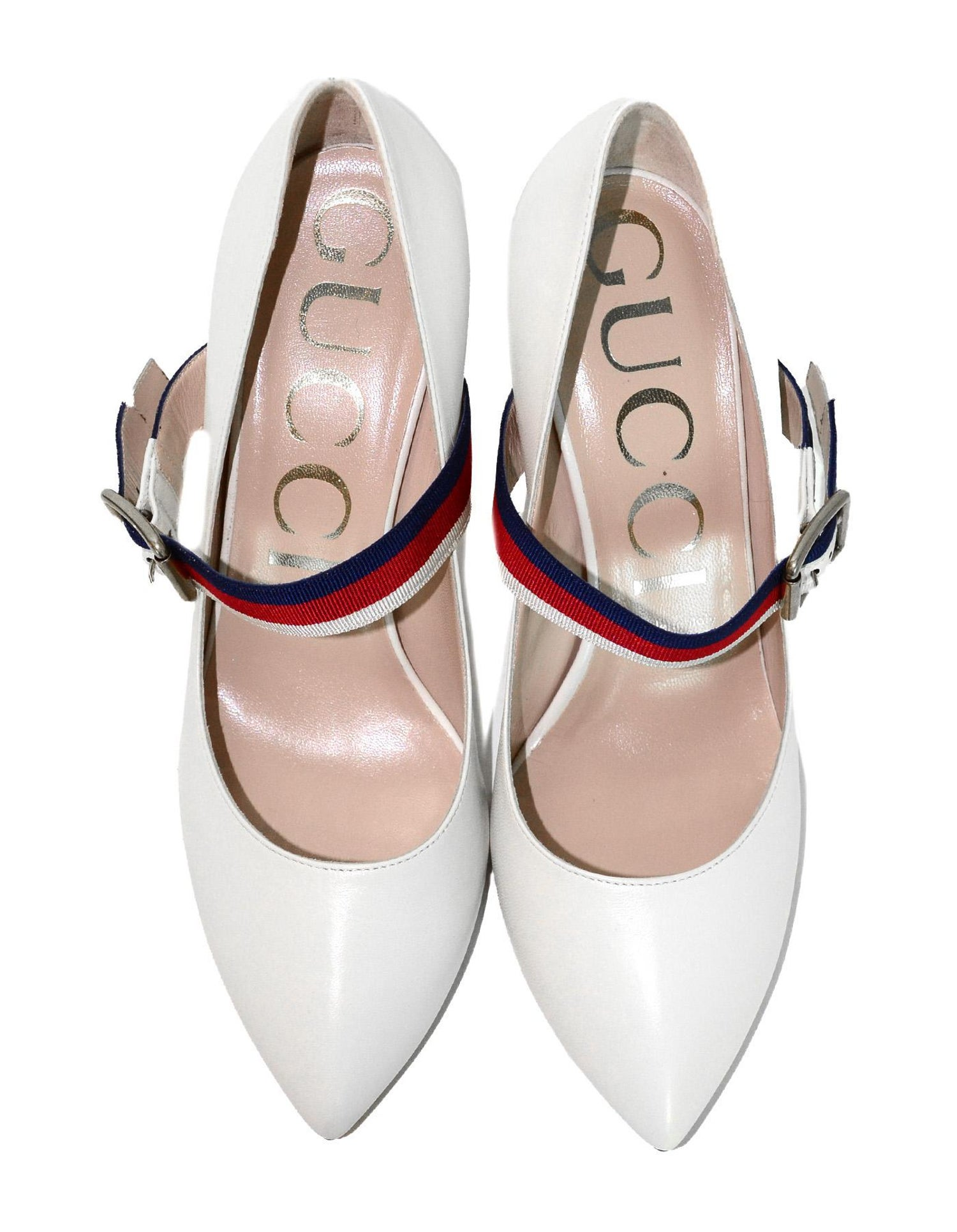 eabf374ca5e Gucci NEW White Leather Sylvie Pumps w. Red Blue Grosgrain-Trimmed Web Sz  37.5 For Sale at 1stdibs