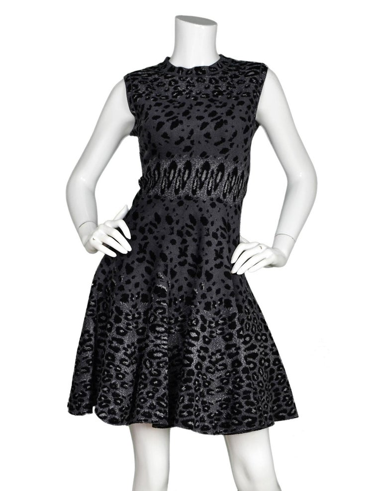 f020187a0ad Alaia Sleeveless Grey Leopard Print Fit   Flare Dress Sz 40 Made In  Italy  Color