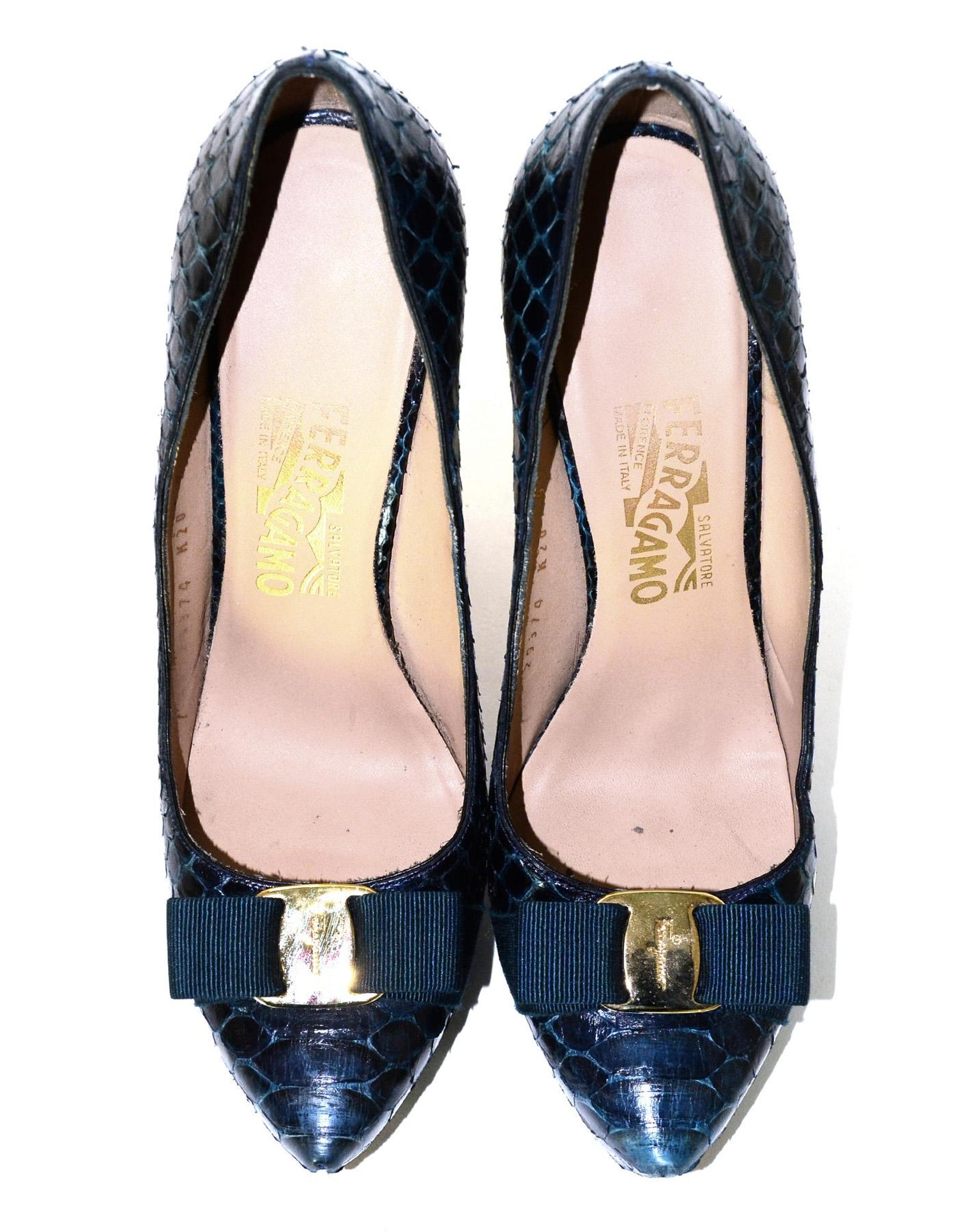 e0d8d38c5b7 Salvatore Ferragamo Blue Navy Baltic Python Trilly C Platform Pumps W  Bow  Sz 39 For Sale at 1stdibs