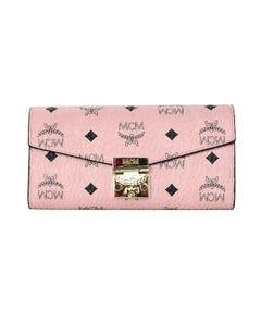 MCM Pink/Black Monogram Patricis Visetos Large Chain Wallet WOC Crossbody Bag