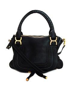 Chloe Black Leather Medium Marcie Satchel Bag W/ Crossbody Strap