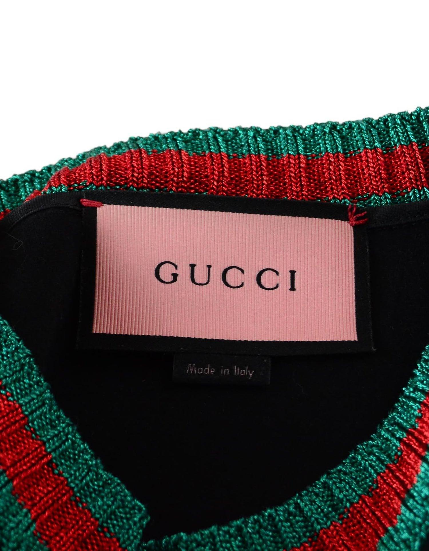 cd643976f42 Gucci Life Is Gucci Ghost Black Crewneck Sweatshirt W  Metallic Web Sz M  For Sale at 1stdibs