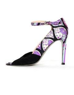 Emilio Pucci Printed Fabric Heels Shoes W/ Black Suede Sz 39