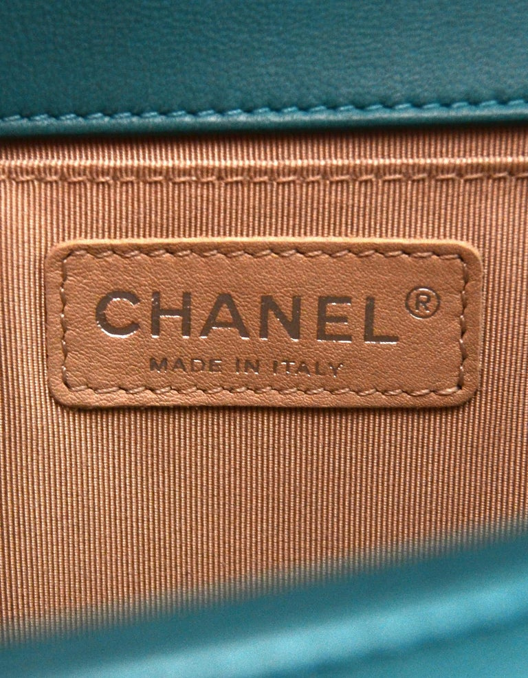705d83ea9c67 Chanel Turquoise Blue Lambskin Leather Quilted Medium Boy Flap Bag For Sale  3