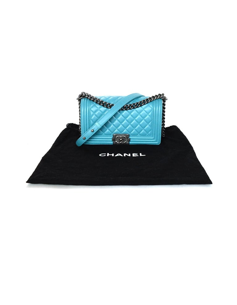 80674d08dd8f Chanel Turquoise Blue Lambskin Leather Quilted Medium Boy Flap Bag For Sale  5