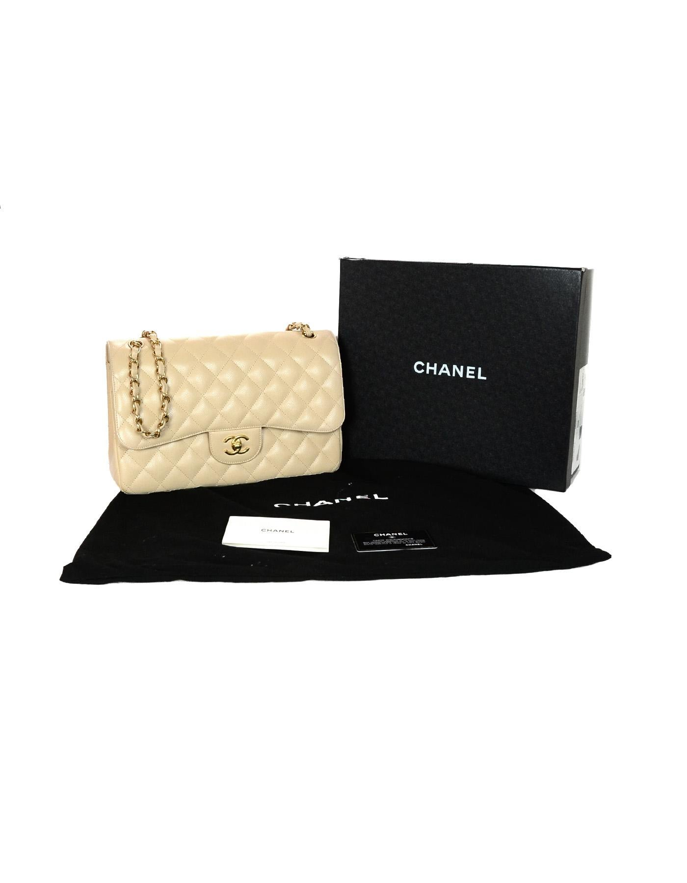 b7d101b15a3a Chanel Beige Clair Caviar Leather Quilted Jumbo Double Flap Classic Bag W/  GHW For Sale at 1stdibs