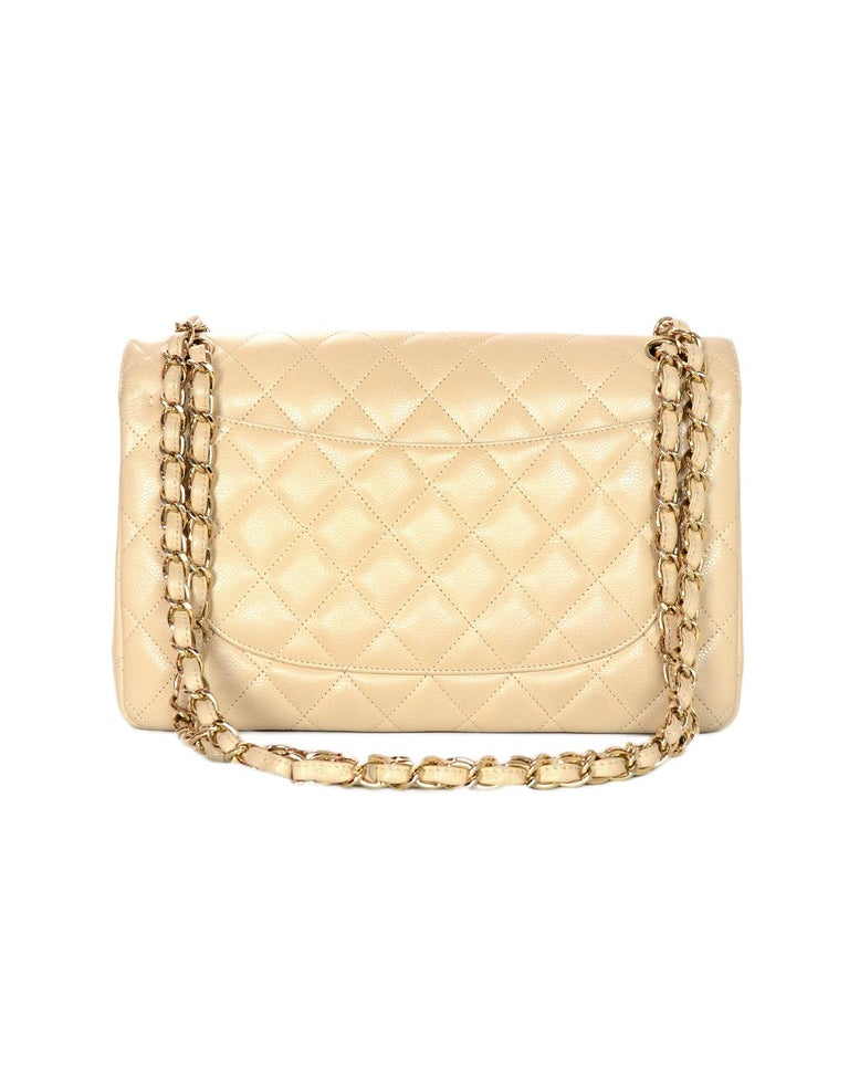 a97cdcdf23a9 Orange Chanel Beige Clair Caviar Leather Quilted Jumbo Double Flap Classic  Bag W/ GHW For