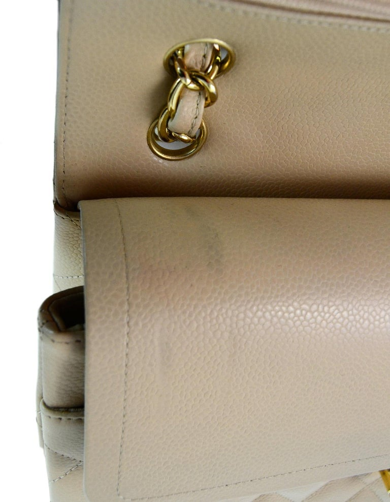 40cc7fdd90a3 Chanel Beige Clair Caviar Leather Quilted Jumbo Double Flap Classic Bag W/  GHW For Sale