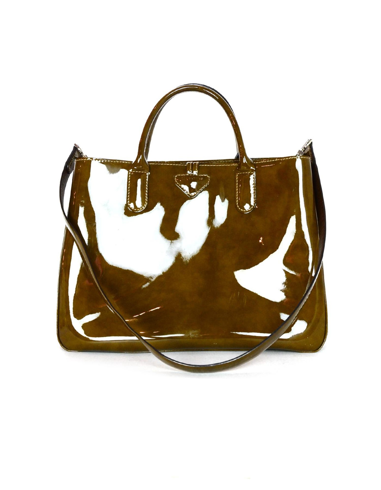 Longchamp Brown Tortoise Patent Leather Medium Roseau Toggle Tote Bag W   Strap For Sale at 1stdibs 9973736b2a32b