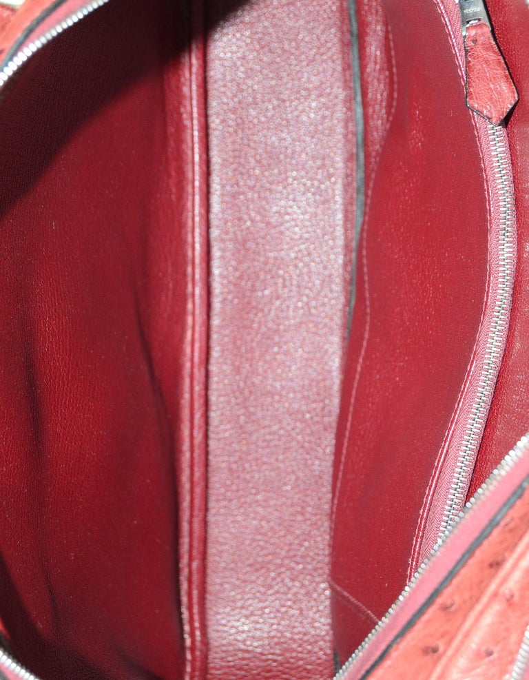 28d02d78ea0 Hermes NEW Limited Edition Maroon Ostrich Doha Bag w  Dust Bag, Lock   Key