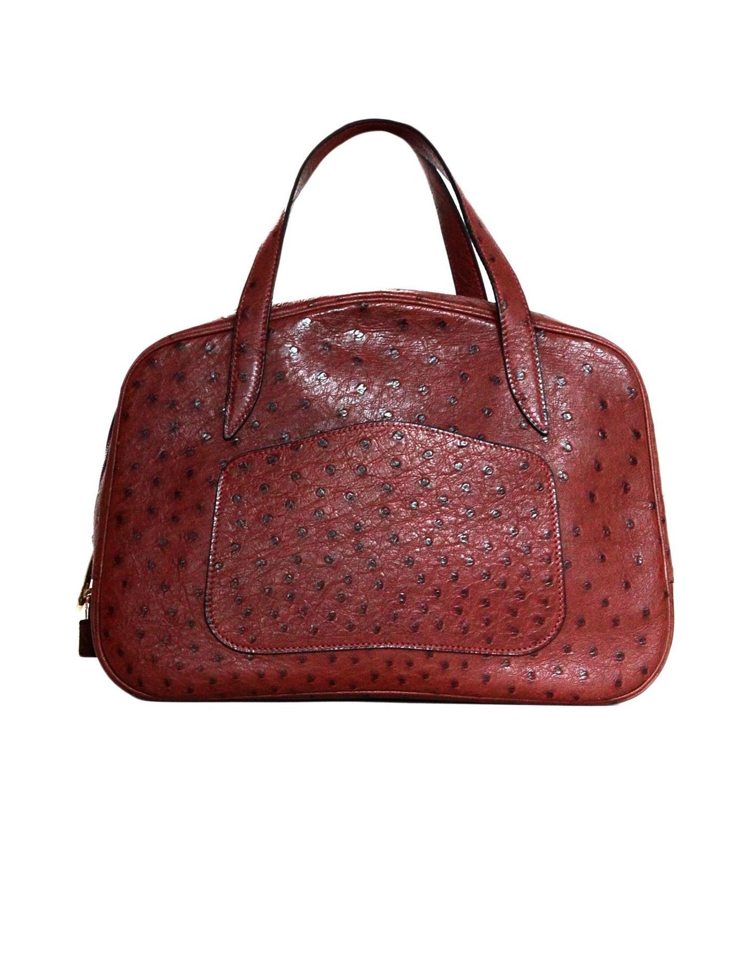 Hermes NEW Limited Edition Maroon Ostrich Doha Bag w  Dust Bag 60f47b838ca7f