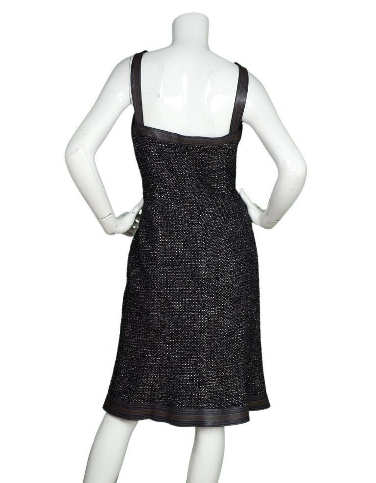 Chanel Black/White/Brown Tweed Dress W/ Leather Trim Sz 46 In Excellent Condition For Sale In New York, NY