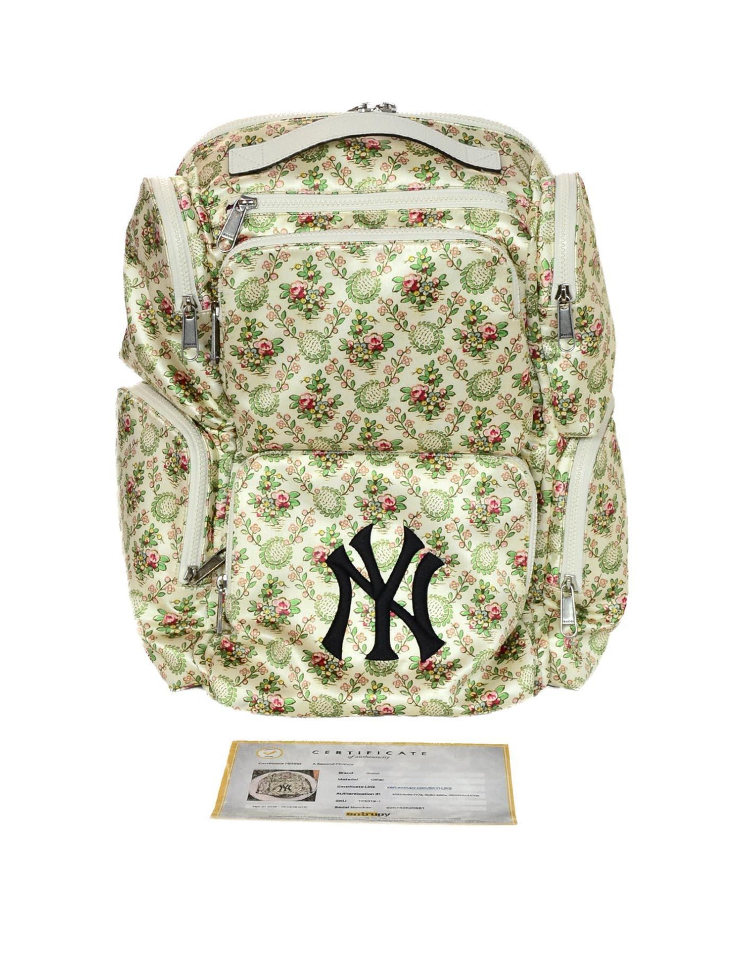 f898c923b31e Gucci 2018 Floral Satin Large Backpack Bag W/ NY Yankees Patch For Sale at  1stdibs
