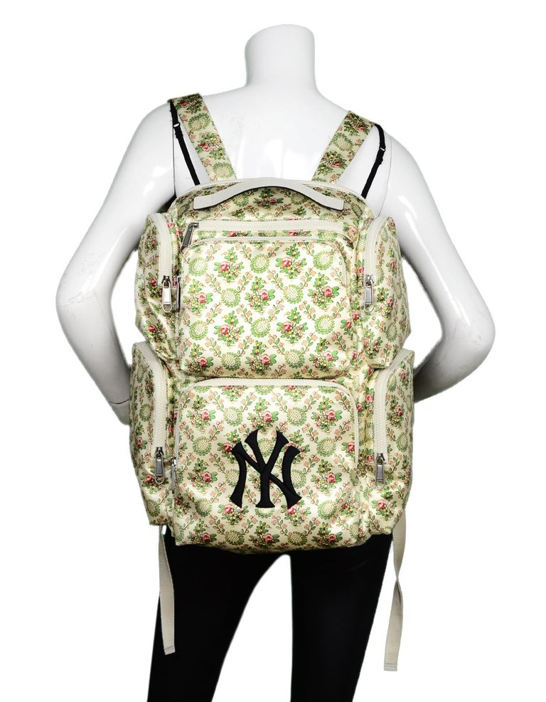 0ea020c0e7a9 Gucci 2018 Floral Satin Large Backpack Bag W/ NY Yankees Patch Made In:  Italy