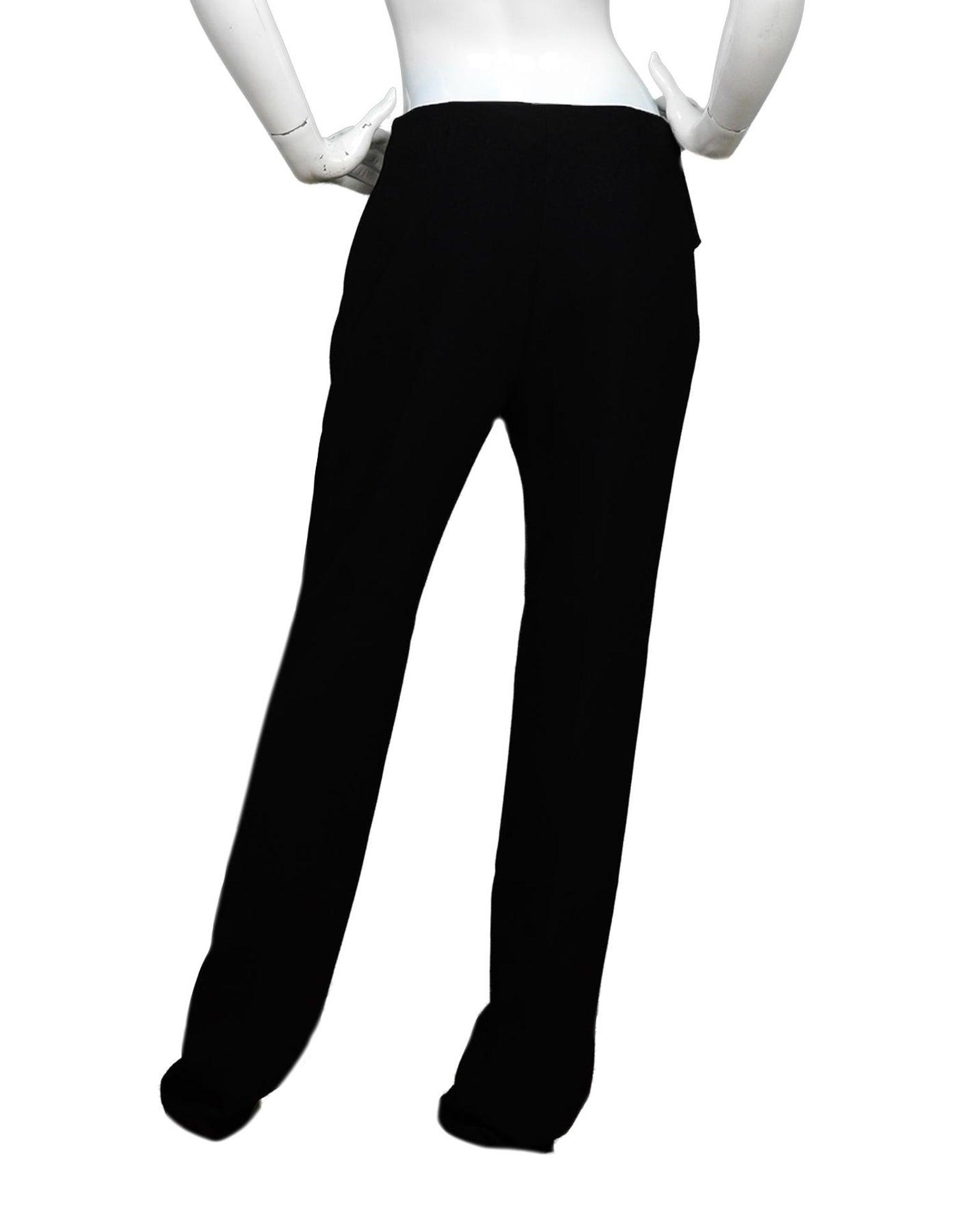 Balenciaga Black Slacks Pants W/ Ruffle Overlay Sz 42 For Sale at 1stdibs