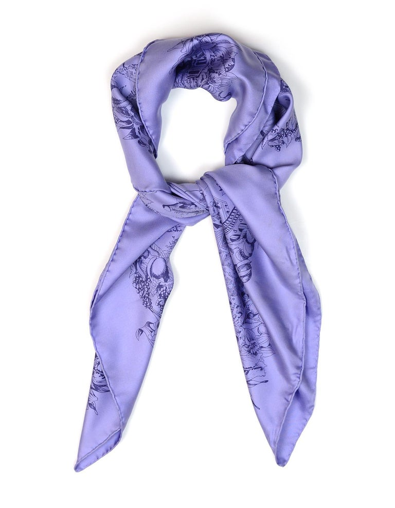 Hermes Purple Silk Au Pays De Cocagne Silk Scarf  Made In: France Color: Purple Materials: 100% silk Overall Condition: Good pre-owned condition with some discoloration/staining throughout  Measurements:  35