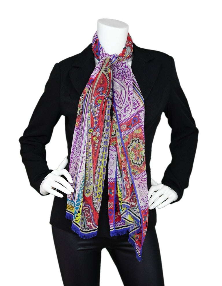Etro Multi-Color Sheer Silk Paisley Print Scarf In Excellent Condition For Sale In New York, NY