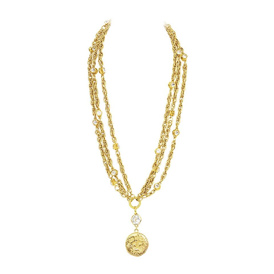 CHANEL Vintage 70's-80's Gold Chain Multi-Strand Necklace w/CC Pendant 1