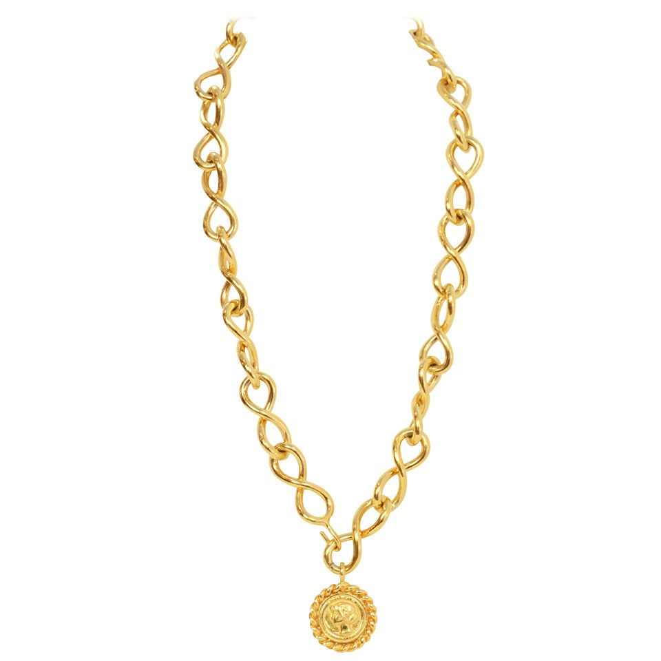 Chanel Vintage Goldtone Coco Coin Swirl Chain Link Belt/Necklace For Sale